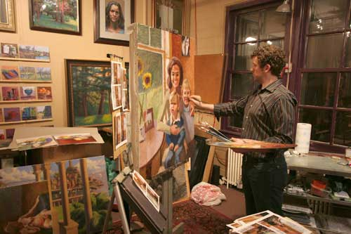 Work in progress photo of Jeffrey Smith in his Minneapolis studio.