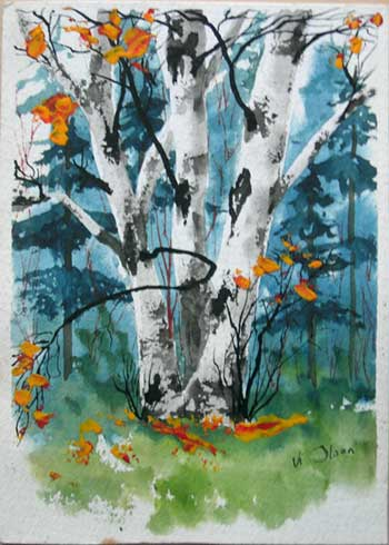 """Birch Clump, 5x7"""", watercolor on paper, by Vi Olson"""
