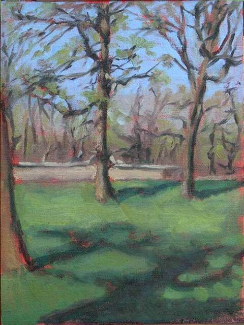 plein air oil painting of a trees in the spring time by Minnesota painter Jeffrey Smith