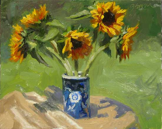 Sunflowers Plein Air | outdoor still life painting