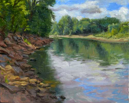 Mississippi River Reflections | plein air painting on the St. Paul shore