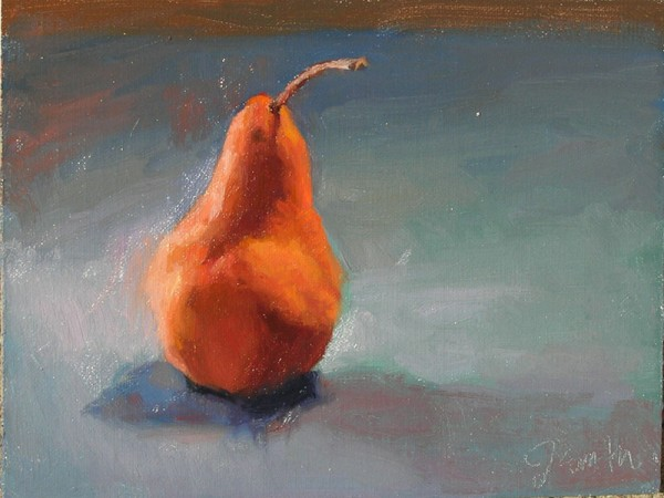 Dual Lit Pear, 6x8, oil on panel, by Jeffrey Smith