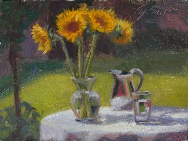 Sunflowers and Silver Pitcher| plein air still life, by Jeffrey Smith