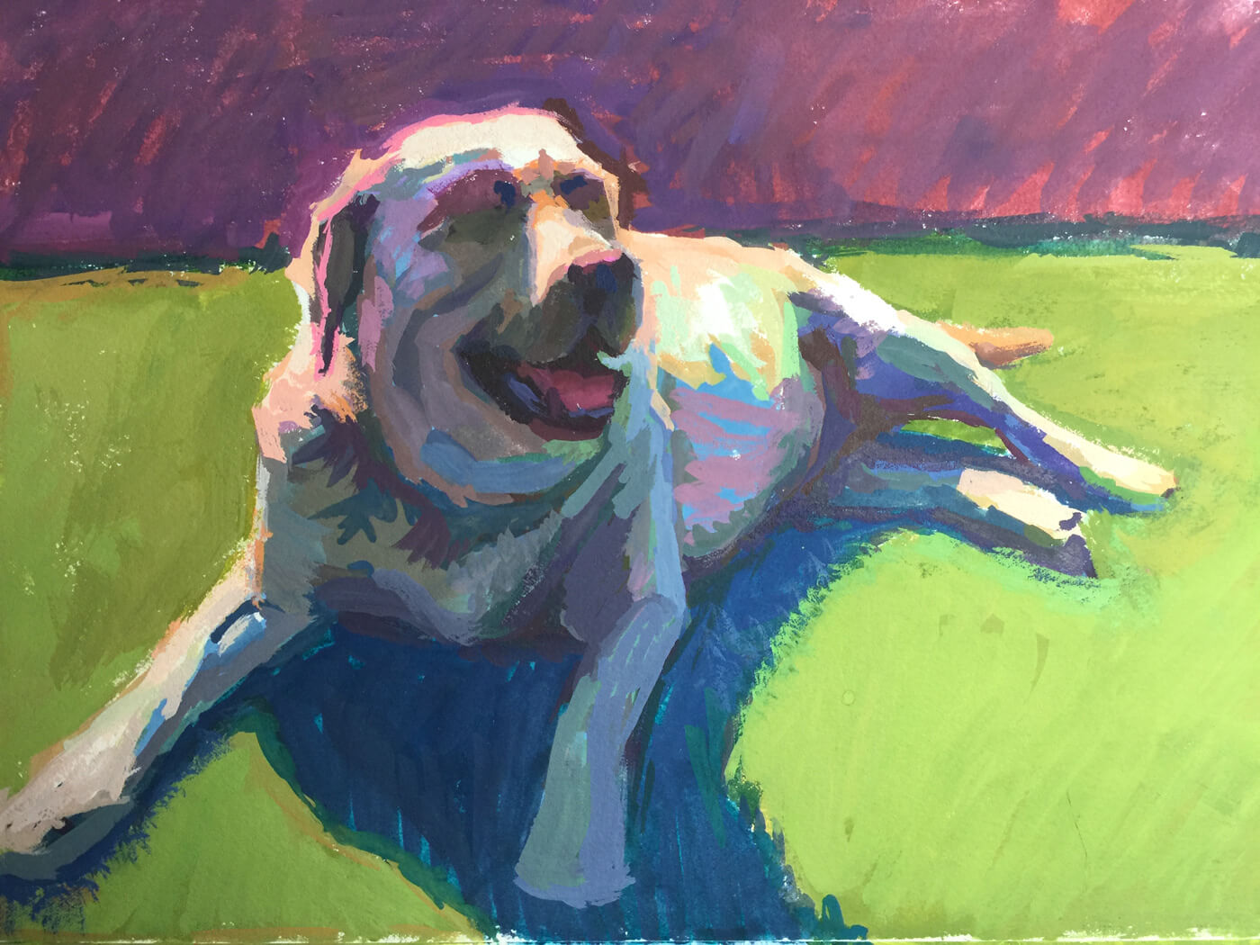 A colorful work in progress gouache painting of a yellow lab by Jeffrey Smith