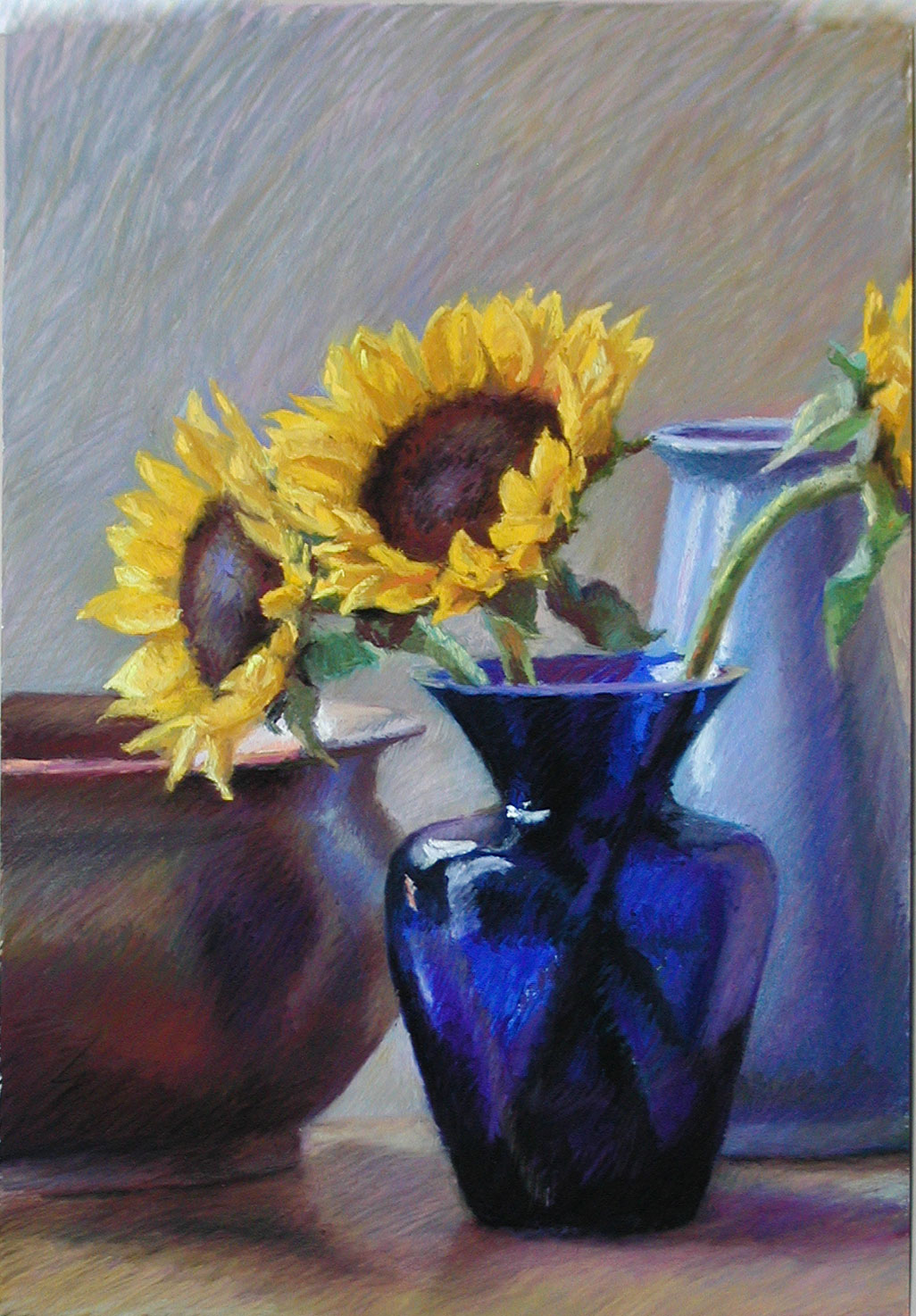 Pastel painting of sunflowers in a cobalt blue glass vase | Jeffrey Smith
