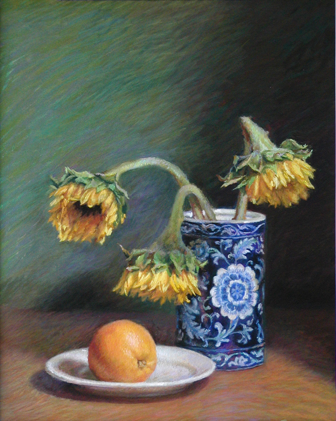 Pastel painting of sunflowers in a blue and white vase | Jeffrey Smith