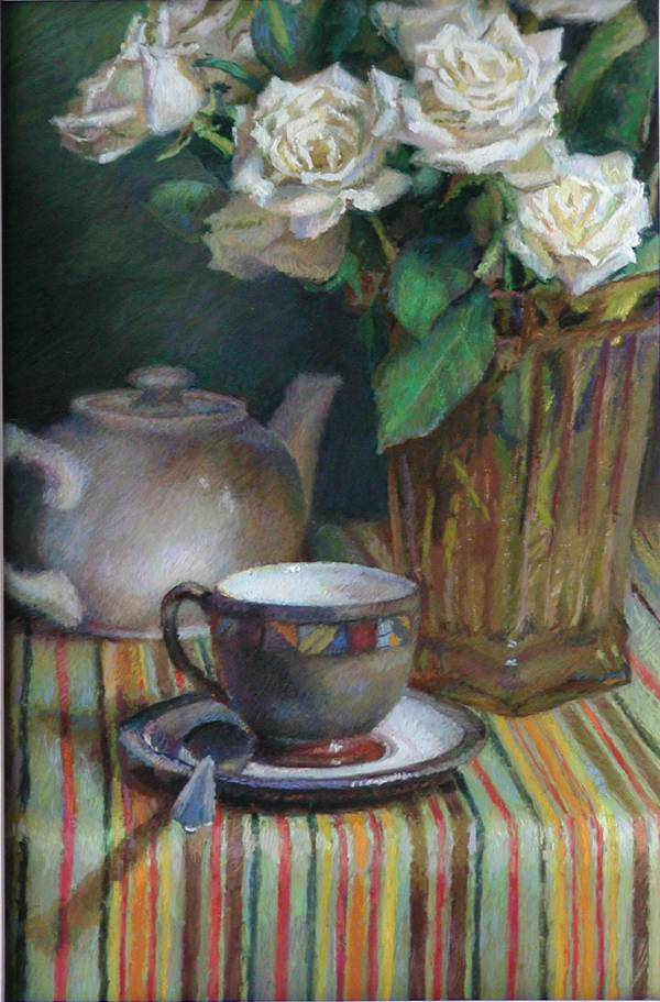 A pastel painting of white roses, a tea cup and pot on a stripped cloth | Jeffrey Smith