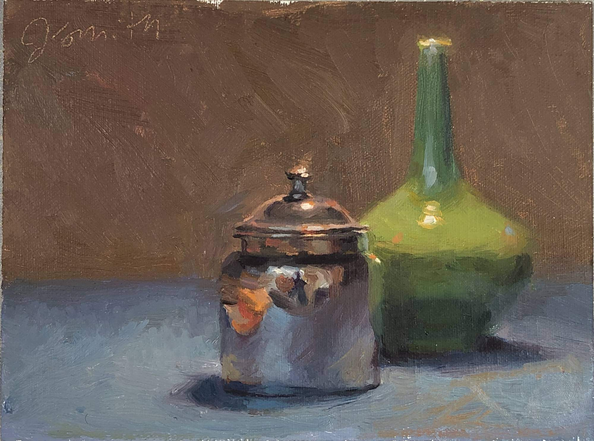 Silver Jar and Green Vase