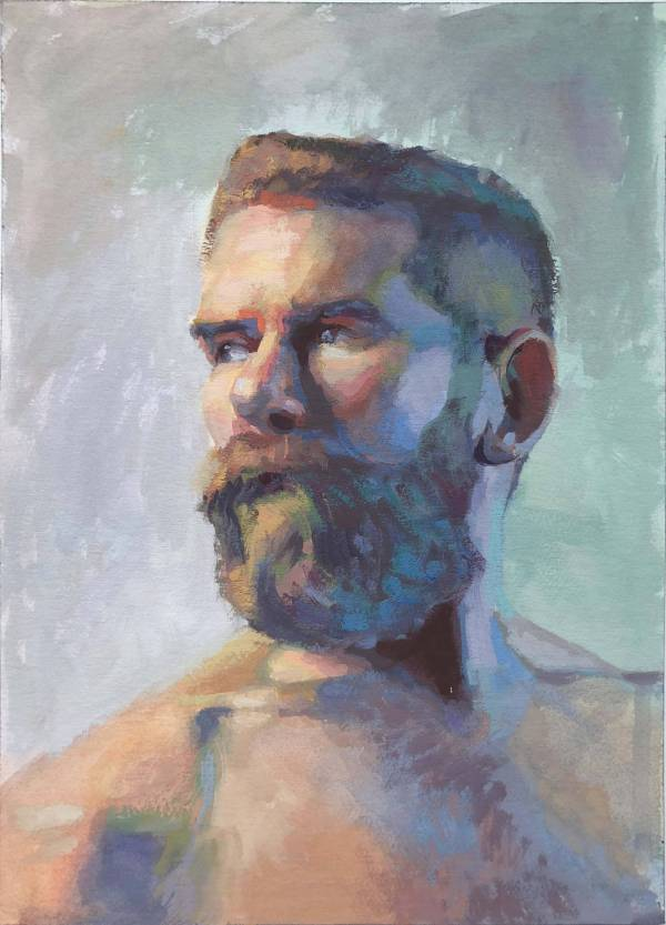 A colorful portrait painting of a guy with a beard