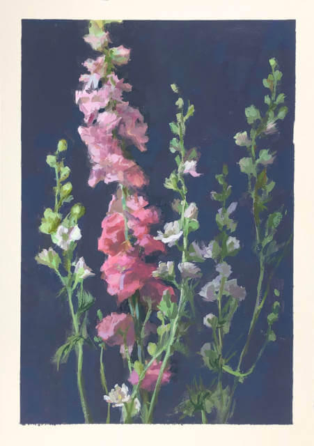 A gouache painting of several stalks of delphinium