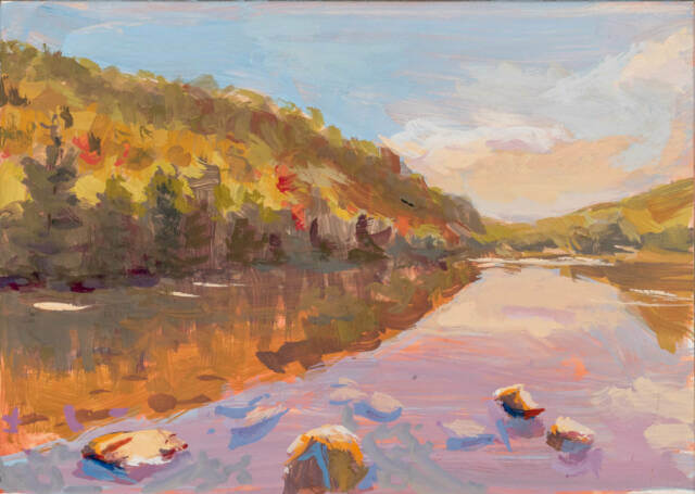 Casein painting of the Bubble Pond in Acadia National Park - Jeffrey Smith