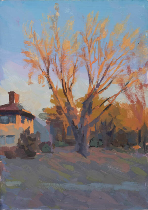 painting of a tree during an early morning sunrise
