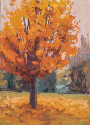 A casein painting of an orange-yellow fall color maple tree