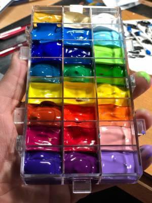 Gouache paints in a plastic paint box