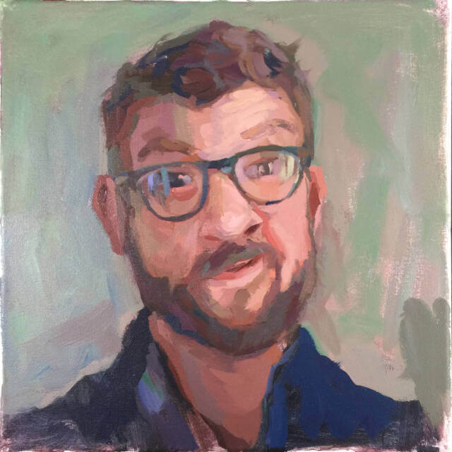 A picture of the acrylic paint self-portrait of Minneapolis artist Jeffrey Smith