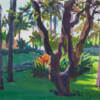 Puerto Vallarta Gardens, a gouahce painting of a lush, green garden in Puerto Vallarta, Mexico by Minneapolis artsit Jeffrey Smith
