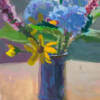 Colorful Bouquet, a gouache painting of a bouquet of gathered flowers painted by Minneapolis artist Jeffrey Smith