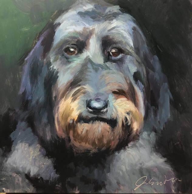 Sophie - custom pet portrait - oil on panel by Minneapolis painter Jeffrey Smith