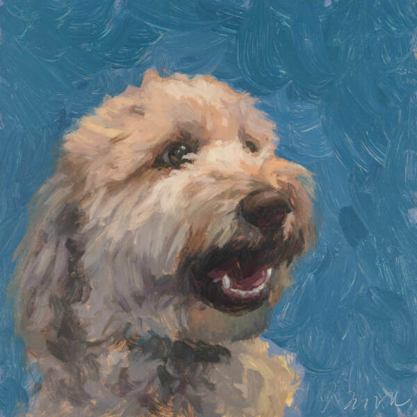 Bentley, oil painting of a goldendoodle by Jeffrey Smith