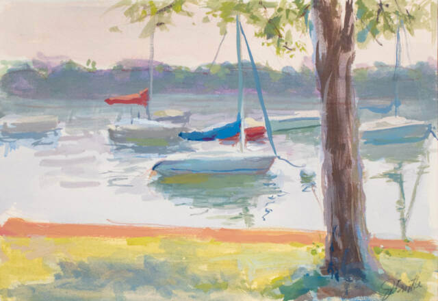 Waiting for the Wind, a casein painting of sailboats on a very calm Lake Harriet in Minneapolis, MN