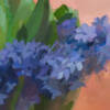 Detail image of a painting of purple hyacinth in a vase by painter Jeffrey Smith