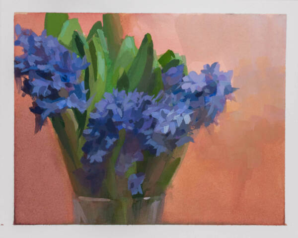 Gouache paint of a vase filled with purple hyacinth by Minnesota artist Jeffrey Smith