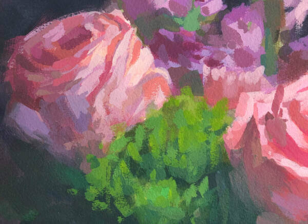 detail of an acrylic gouache painting of a Rose Bouquet by Minneapolis artist Jeffrey Smith