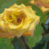detail of an acrylic gouache painting on paper of 2 yellow roses by Jeffrey Smith